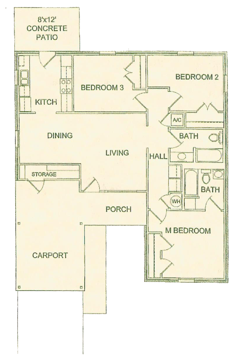 Four Bedroom / Two Bath - 1,470 Sq. Ft.*